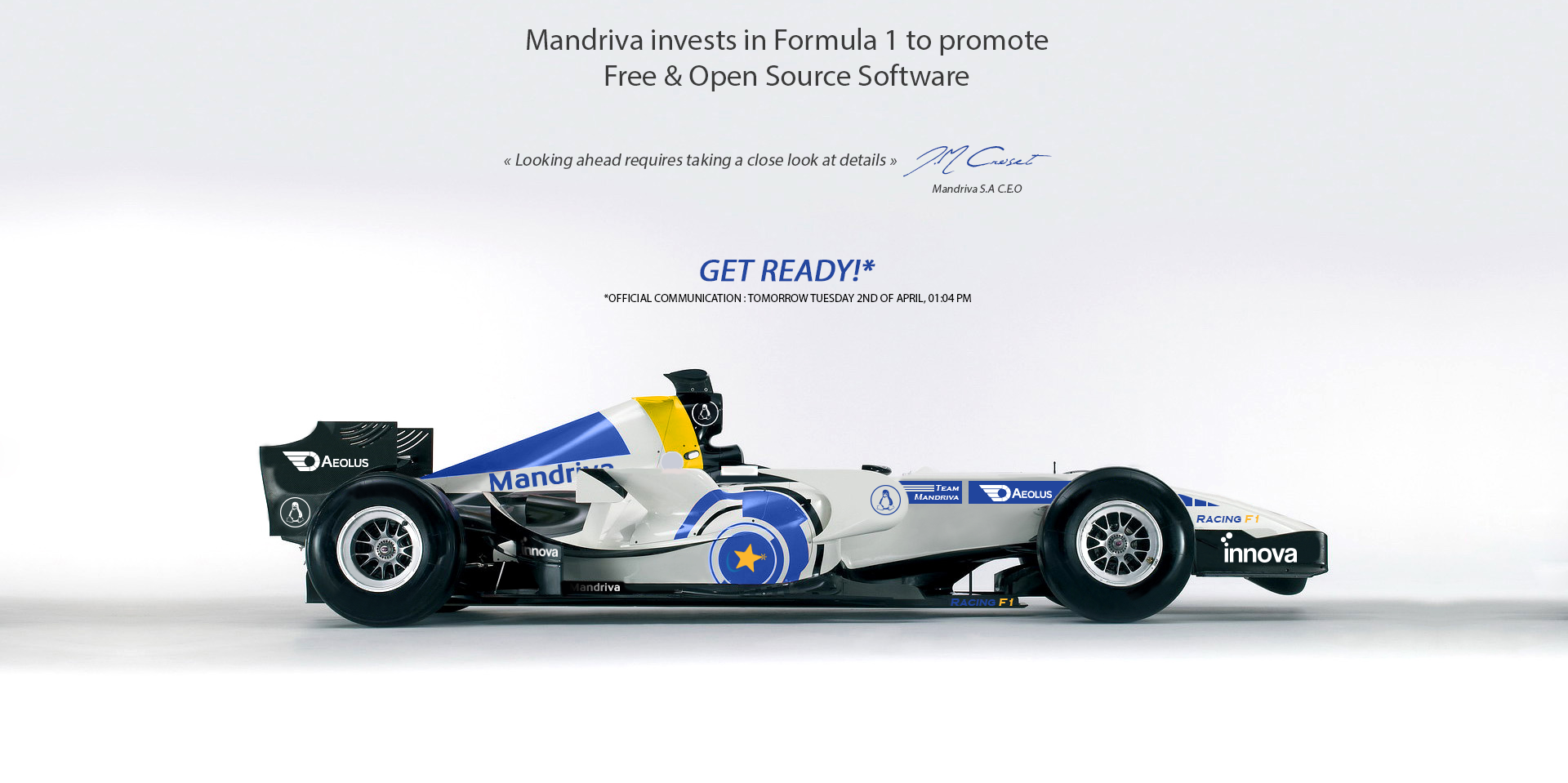 Special Announcement: Mandriva invests in Formula 1 racing